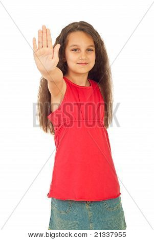 Smiling Girl With Stop Hand