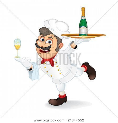 Chef Cook with Tray and Bottle of Champagne, isolated vector cartoon illustration