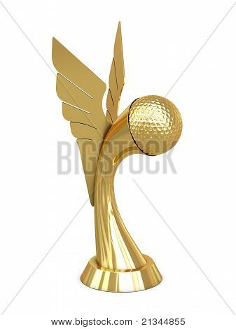 Golden award trophy with wings and golf ball