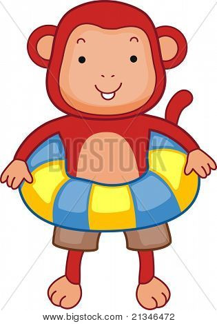 Illustration of a Monkey Wearing a Flotation Device