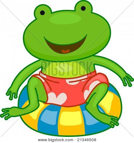 Illustration of a Frog Sitting on a Flotation Device