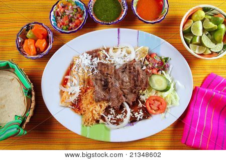Beef grilled mexican style bisteck chili sauces and tortilla