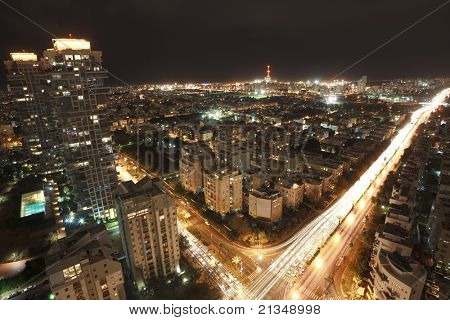 Tel Aviv at night, Israel