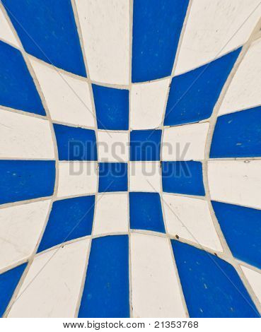 White And Blue Tile Checkerboard Blast Out