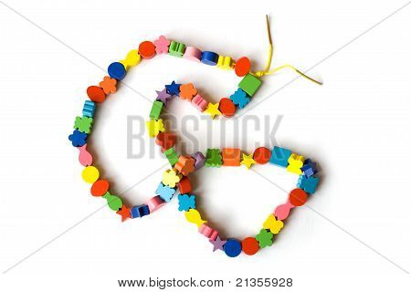Handmade Necklace Made From Colourful Beads On A White Background