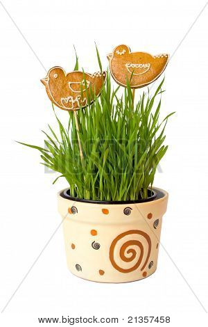 Two Gingerbread Birds On The Flowerpot