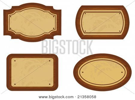 Set of wooden signs. Vector
