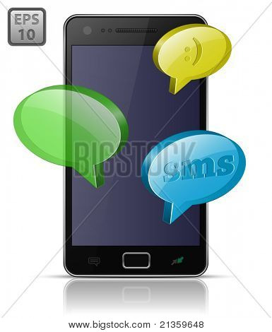 Modern mobile smart phone. Sending and Receiving SMS Messages. EPS10
