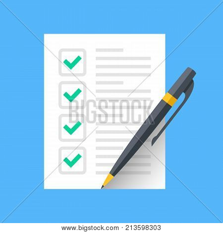 poster of Checklist and pen. Document with green ticks checkmarks and pen. Checklist icon, application form, complete tasks, to-do list, survey concepts. Modern flat desgin graphic elements. Vector icon