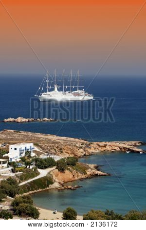 Paros Coast With Cruise Ship On The Background
