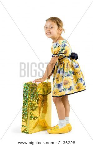 Little Girl With Shopping Bag.