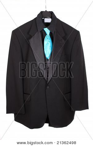Closeup Of Three Piece Suit With Blue Tie
