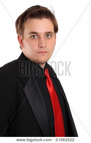 Young Businessman In Black Formal Suit