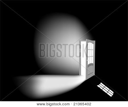 illustration with open white door on black background