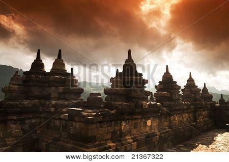 Borobudur Ruins at Yogyakarta, Central Java, Indonesia.