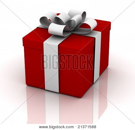 Red Gift Box On White