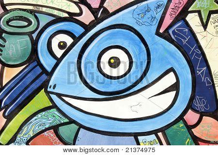 Happy creature graffiti