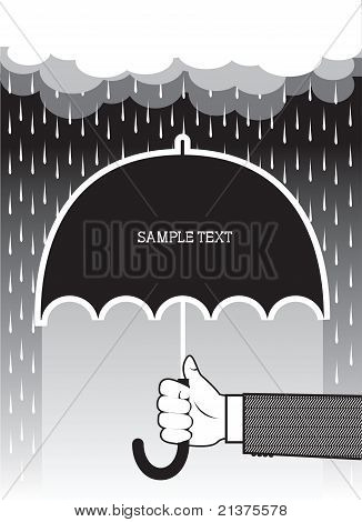 Hand Holding Umbrella Under Big Rain.vector Background For Text