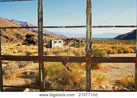 Building in desert landscape