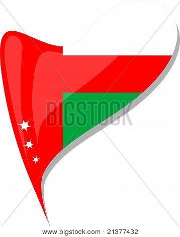 Oman Flag Button Heart Shape. Vector