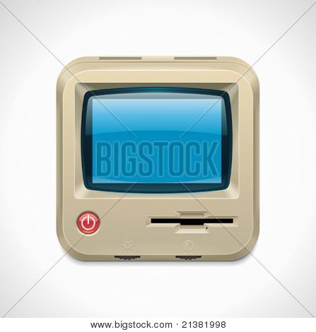Vector retro computer square XXL icon