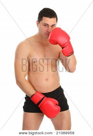Guy Covering Groin With Boxing Glove