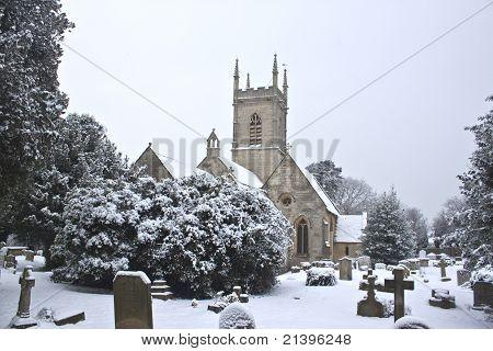 Church Yard With Snow