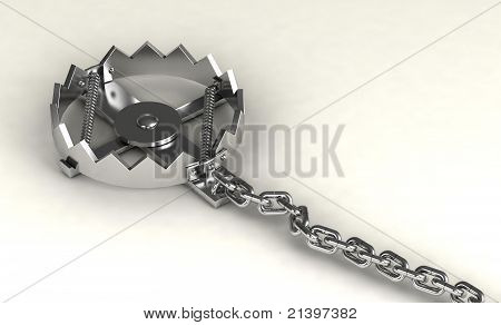Empty trap isolated on white background