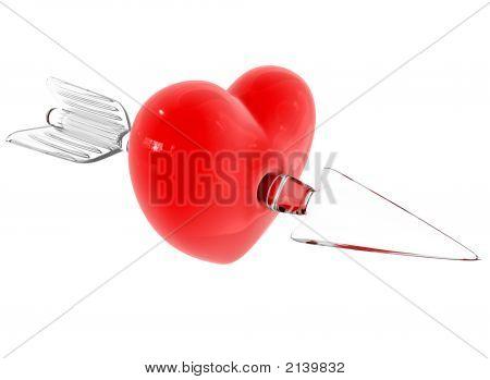 Red Heart Broken By Glass Arrow