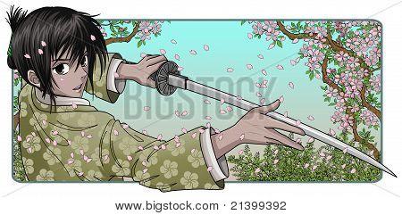 Samurai Holding Katana