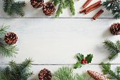Christmas background with Christmas decorations on wooden white table.  poster