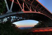image of burlington  - dramatic angle of a bridge against morning sky - JPG