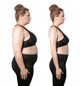 Young woman before and after weight loss on white background. Health care and diet concept poster
