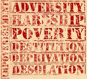 pic of deprivation  - Poverty related words printed in red ink on parchment - JPG