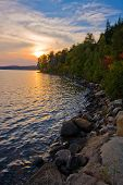 image of loon  - Colorful sunset at an interior lake Algonquin Provincial Park Ontario Canada - JPG