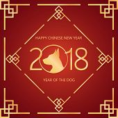 Chinese New Year 2018 Festive Vector Card Design With Dog, Zodiac Symbol Of Year 2018. Happy Chinese poster