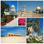 Collage Of Israel Landmarks -old Jerusalem,bahai Temple At Haifa And Caesarea Aqueduct poster