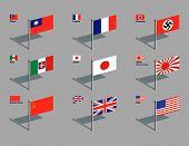 image of swastika  - The World War Two flags of China France Germany Italy Japan  - JPG