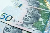 picture of ringgit  - Close up on 50 Ringgit Malaysian papernotes - JPG