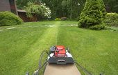 stock photo of grass-cutter  - View of person mowing the lawn in suburban yard - JPG