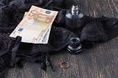 Prostitutes Or Striptease Concept, Euro Banknote With Sexy Laces And Condom poster