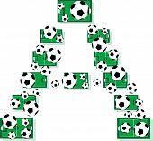 Постер, плакат: Футбол алфавит письма из футбольных мячей и полей