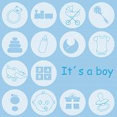 stock photo of baby-boy  - Baby boy arrival announcement card - JPG