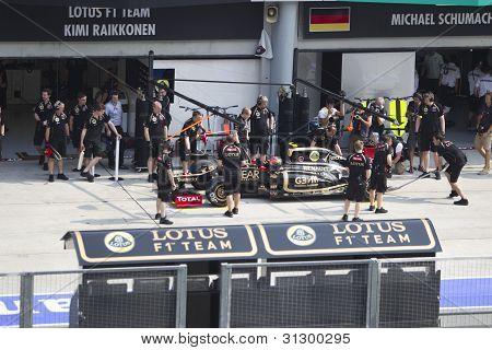 Romain Grosjean does a trial pit