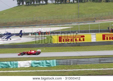 Ferrari F1 car enters pit lane