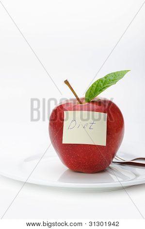 Apple com uma nota de papel