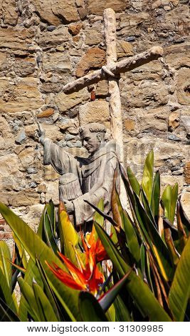 Father Serra Statue Mission San Juan Capistrano Church Ruins California