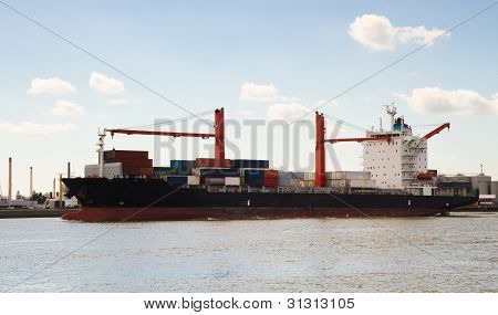 Big Container Ship On The River