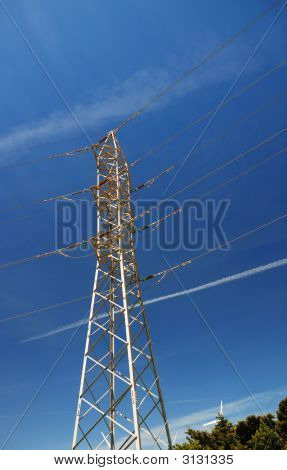 Metallic Construction Of Tangent Tower Blue Sky