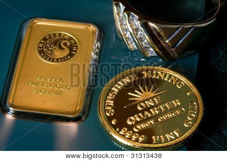 Gold Bar, Coin and Ring